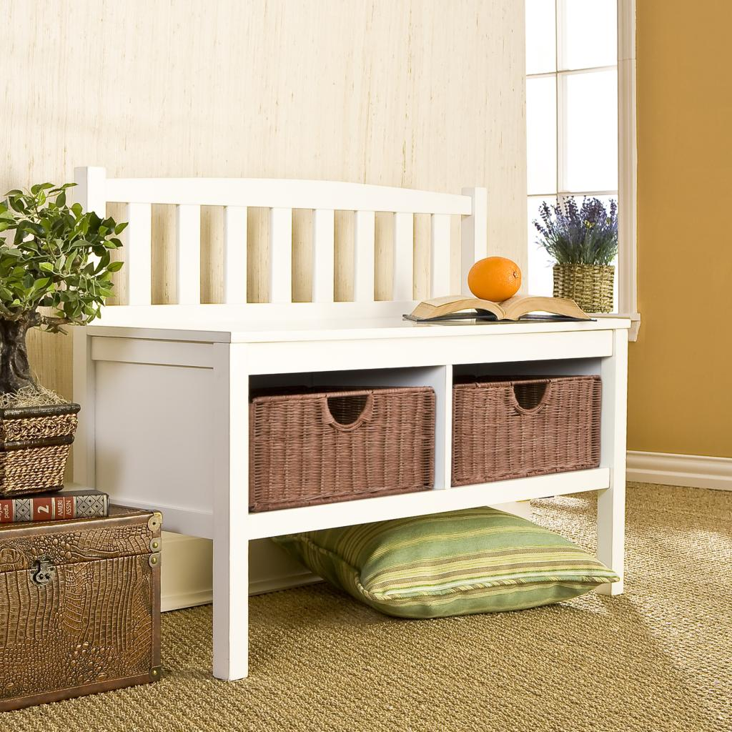 Amazon Com Sei White Bench With Two Brown Rattan Baskets