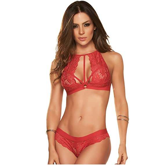 Mapalé Women Sexy Lingerie 2 Piece Strappy Set Ropa Intima Para Mujer Colombiana at Amazon Womens Clothing store: