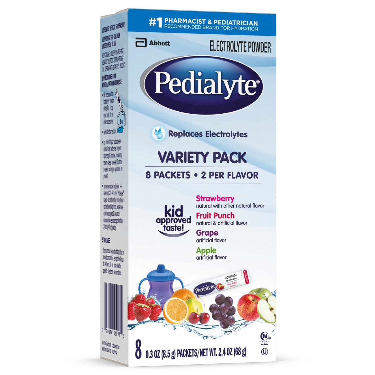 Pedialyte Electrolyte Powder, Electrolyte Drink, Variety Pack, Powder Sticks, 0.3 oz (24 Count) Abbott Laboratories 070074663630