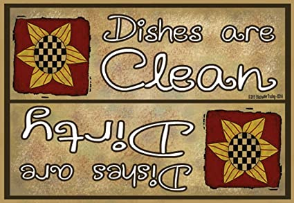 "Clean Dirty Dishes Dishwasher Sunflowers Fridge Refrigerator Magnet 3.5/""X 2.5/"""