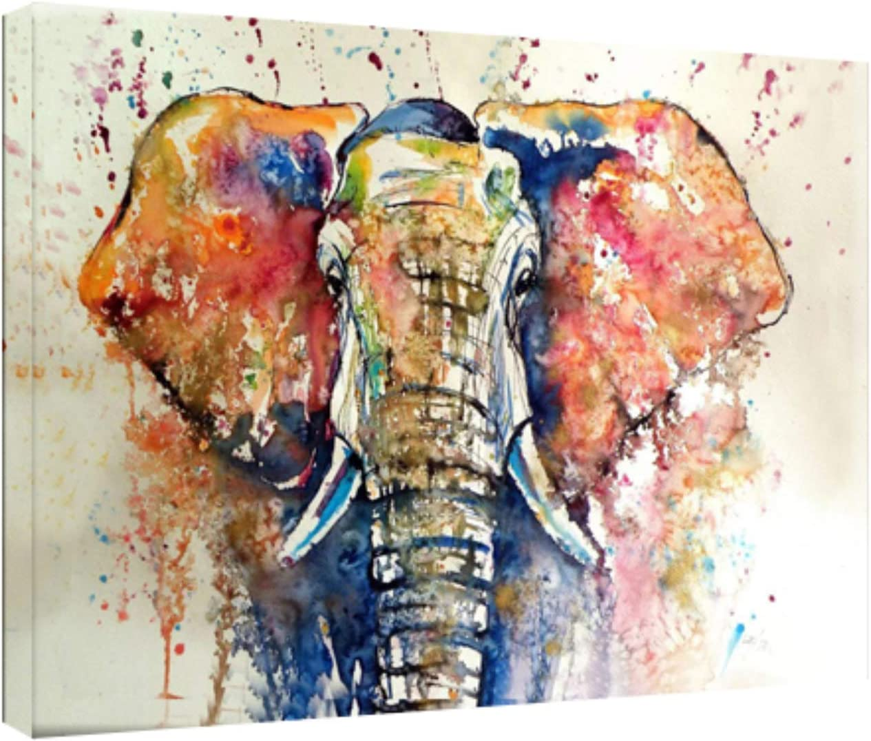 FQJNS Elephant Water Color Wall Art Image Oil Painting Canvas Prints for Home Office Bedroom Decorations Framed Ready to Hang Size 16