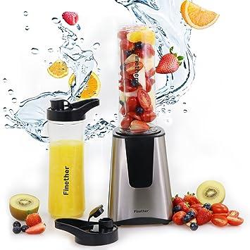 Finether-Batidora Portátil con Tapa para Viajar (dos Botellas): Amazon.es: Hogar