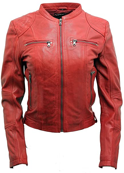b89a5b85c Women's Classic Real Red Leather Biker Jacket at Amazon Women's ...