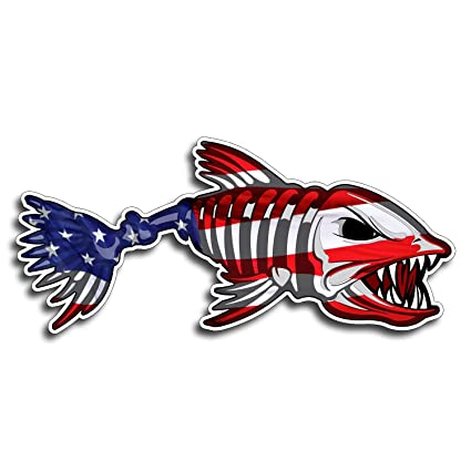Usa bone fish sticker patriotic american flag fishing decal vinyl die cut