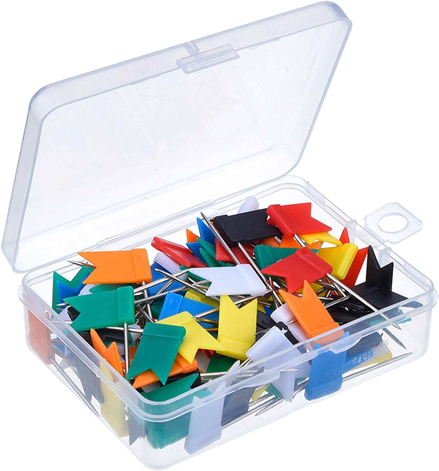 Outus 100 Pieces Map Flag Push Pins Tacks, Assorted 7 Colors