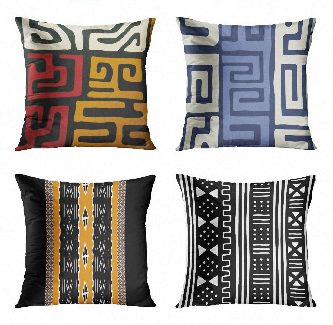 ArtSocket Set of 4 Throw Pillow Covers Red Gold Afrocentric Mudcloth Black White African Blue Kuba Inspired Cool Earth Decorative Pillow Cases Home Decor Square 18x18 Inches Pillowcases