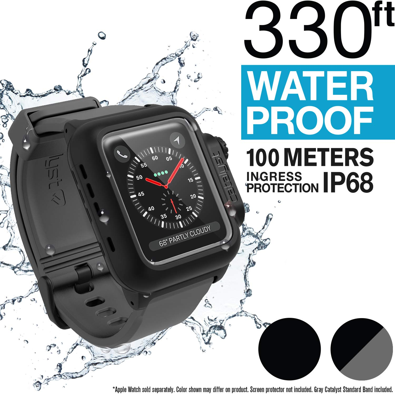 the latest 24ca9 103bb Catalyst Waterproof Apple Watch Case 42mm Series 2 & 3 with Premium Soft  Silicone Apple Watch Band, Shock Proof Impact Resistant [Rugged iWatch ...