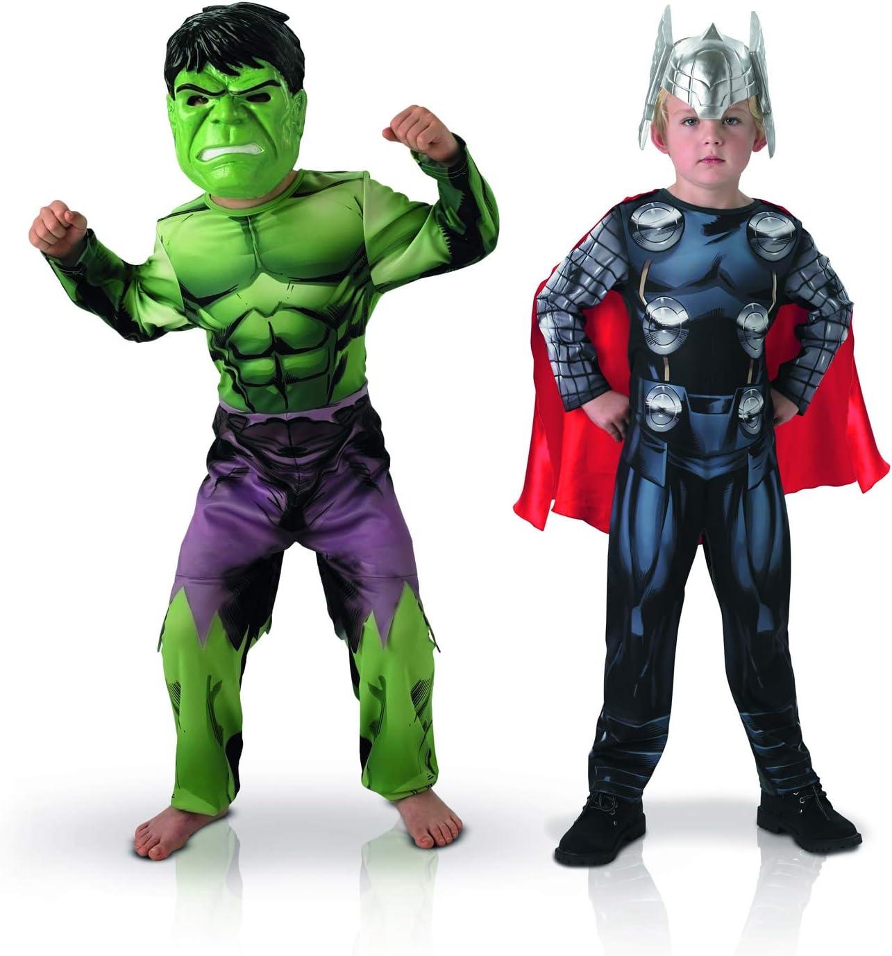Rubie's-Disfraz oficial – Marvel-Bi Pack Classic Asamblea Hulk + Thor, niño talla M 155039M