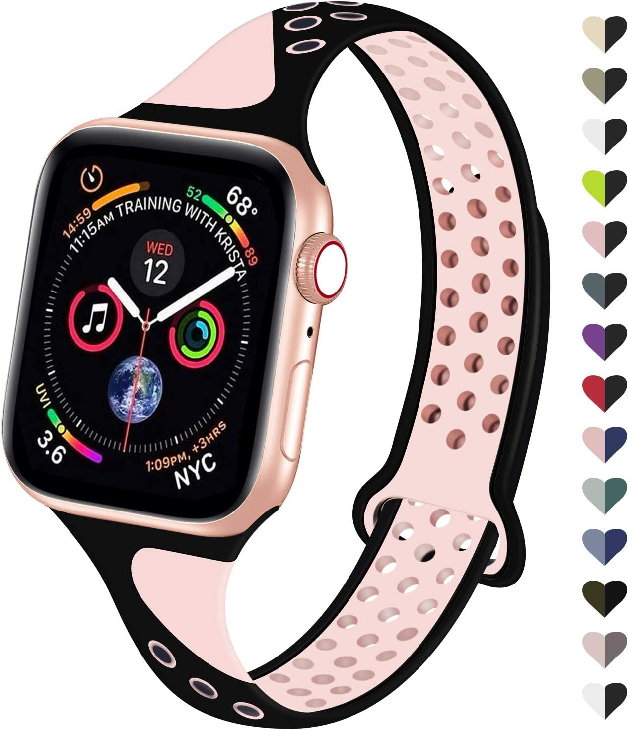 YAXIN Compatible for Apple Watch Band 40mm 38mm Women Men Replacement Sport Band Wristband Super Breathable Sports Style Thin Silicone Watch Strap Compatible with iWatch Series 5 4 3 2 1