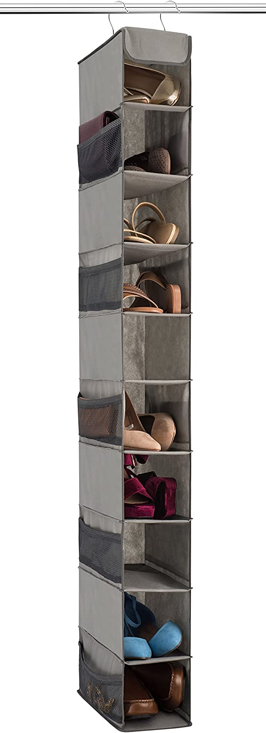 Zober 10-Shelf Hanging Shoe Organizer, Shoe Holder for Closet - 10 Mesh Pockets for Accessories - Breathable Polypropylene, Gray - 5 x 11.5 inch x 52 inch