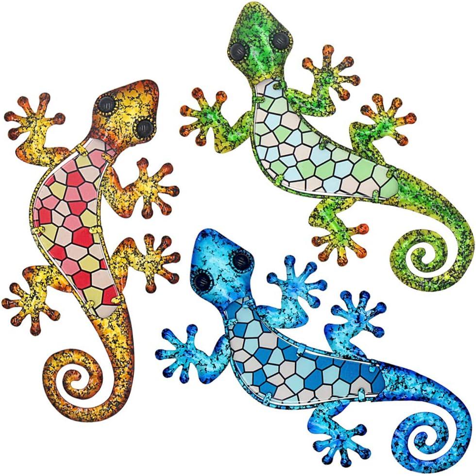 Tfro & Cile Metal Gecko Outdoor Wall Decor 3 Pack Lizard Garden Art Hanging Sculpture, 9.1 Inch Length