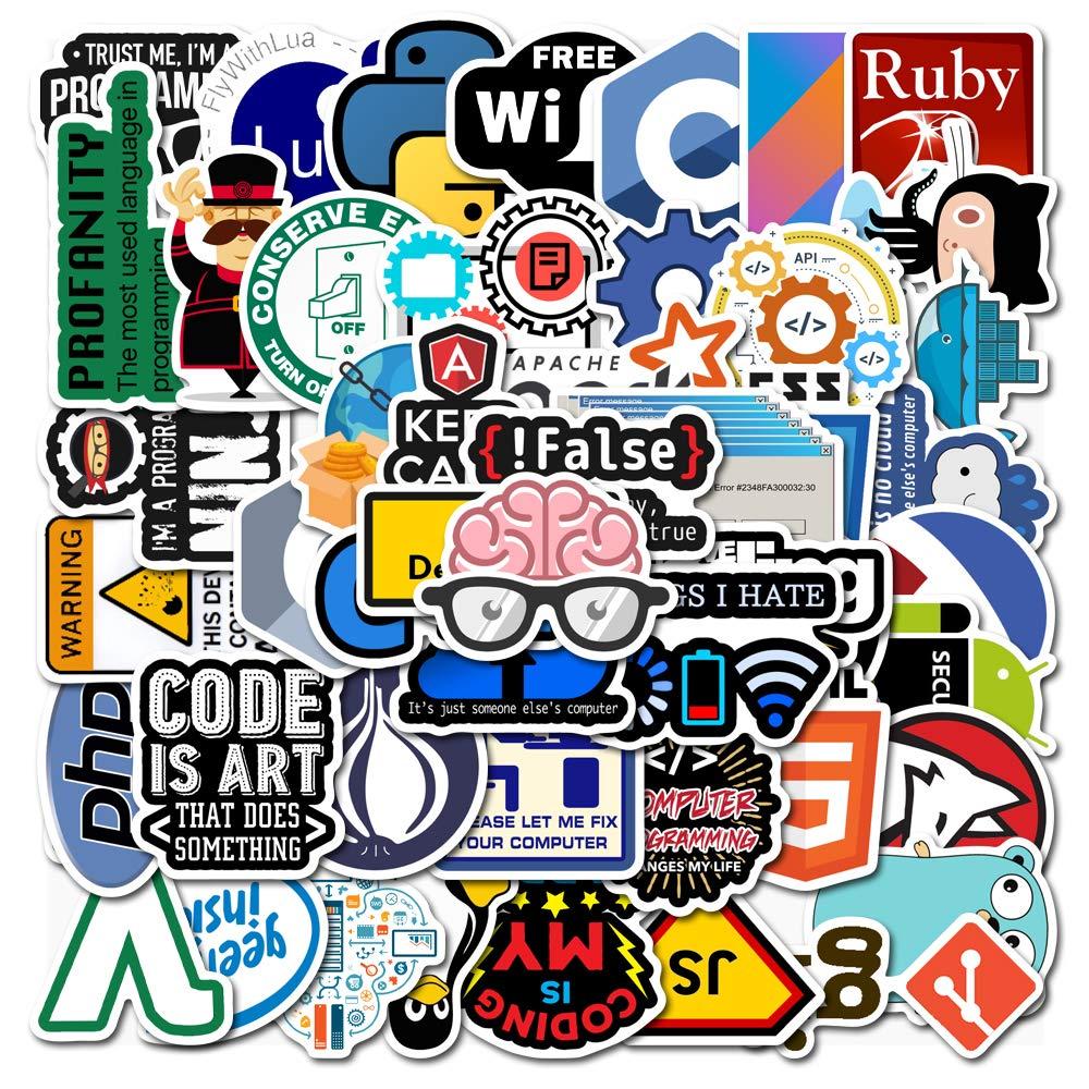 Nerds/' Special Waterproof 50-Pack Vinyl Sticker Bomb Programmer Language Decal