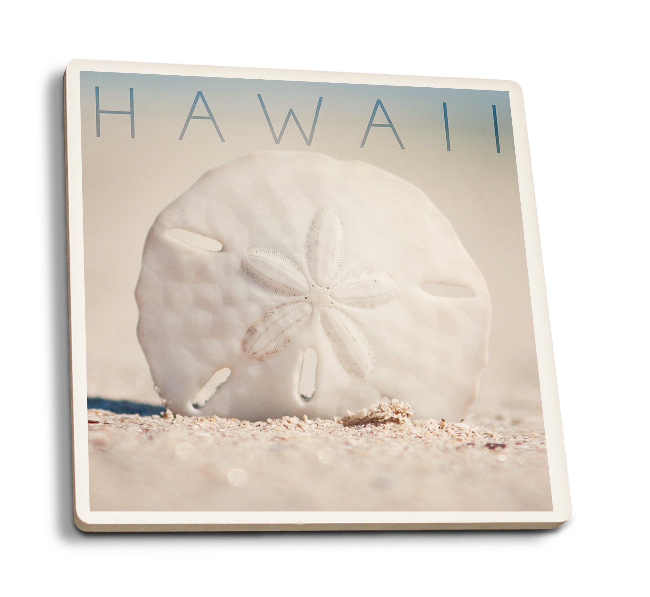 Lantern Press Hawaii - Sand Dollar on Beach (Set of 4 Ceramic Coasters - Cork-Backed, Absorbent)