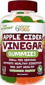 Feel Great 365 Apple Cider Vinegar Gummies for Kids & Adults   Complete Natural Detox, Digestive Support, Appetite Suppressant Supplement*   Includes