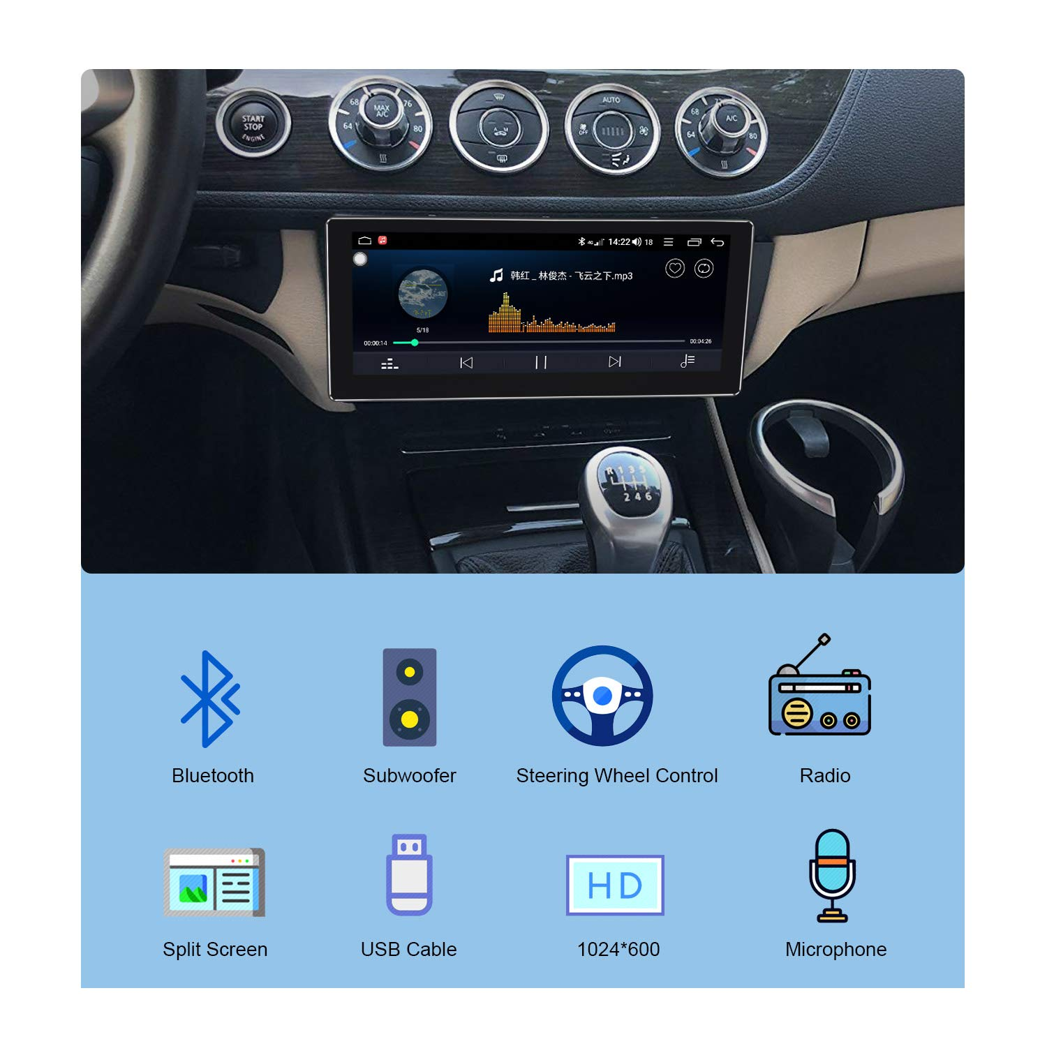 DSP 64GB Autoradio mit 4G LTE WiFi-Verbindung Android 8.1 Autoradio Fast Boot JOYFORWA 7 Zoll Single Din 4GB SPDIF Android Auto