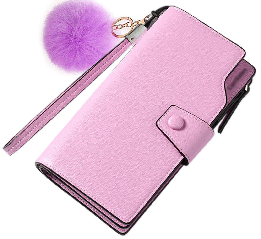 Wallet-NEWANIMA Women Multi-card Two Fold Long Zipper Clutch Purse (Style3-Purple)