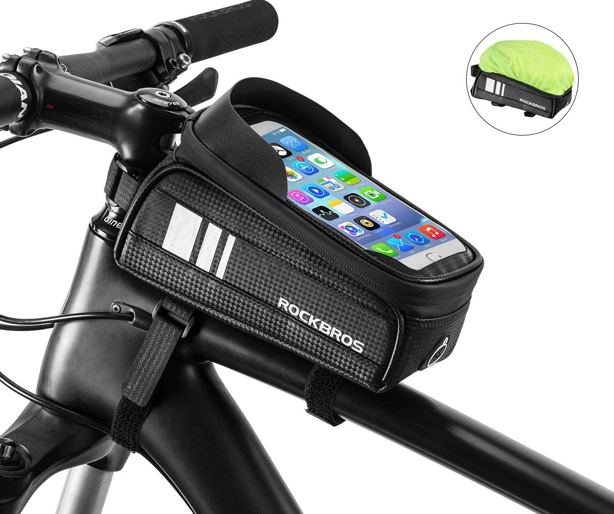 ROCKBROS Bike Phone Bag Waterproof Bicycle Frame Bag Pannier Top Tube Touch Screen Cycling Phone Case Holder for iPhone X XS 8 7 Plus Cellphone Below 6.5 Inches