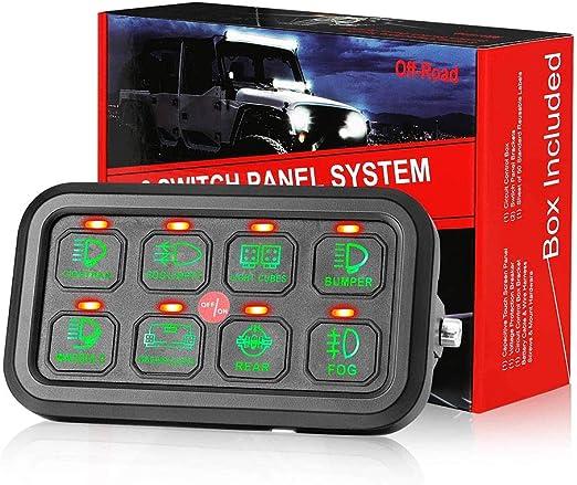 Hai 8 Gang Switch Panel On Off Led Auto Schalter Panel Schalt Control Box Relay System Universal Touch Panel Mit Harness Und Label Aufkleber Für Lkw Marine Jeep Atv Utv Boot Caravan Auto