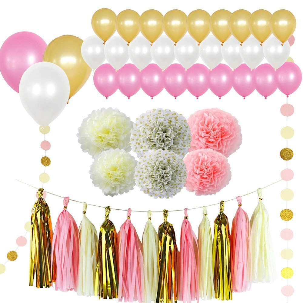 Lavish Favors & Gifts 50 pcs Pink, Cream, White & Gold Amazing Birthday Party Wedding Decoration Including Helium Balloons - Tissue Paper pom poms Hanging Tassel Garlands - Circle Strands Garland Kit by Lavish Favors & Gifts (Image #1)
