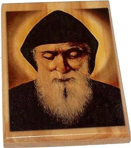 Holy Land Market Mar Charbel Makhlouf (A Maronite Famous Catholic Saint) Magnet - Olive Wood (7x5 cm or 2.8x2 inches)