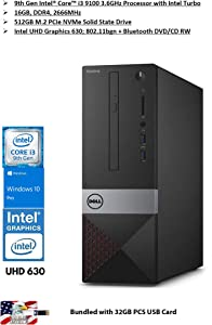 2020 Newst Dell Vostro 3471 Business Small Desktop 9th Gen Intel 4-Core i3-9100 (Beats i7-7700T) 16GB DDR4 512GB SSD WiFi HDMI DVD Windows 10 Pro Bundled with 32GB PCS USB Card
