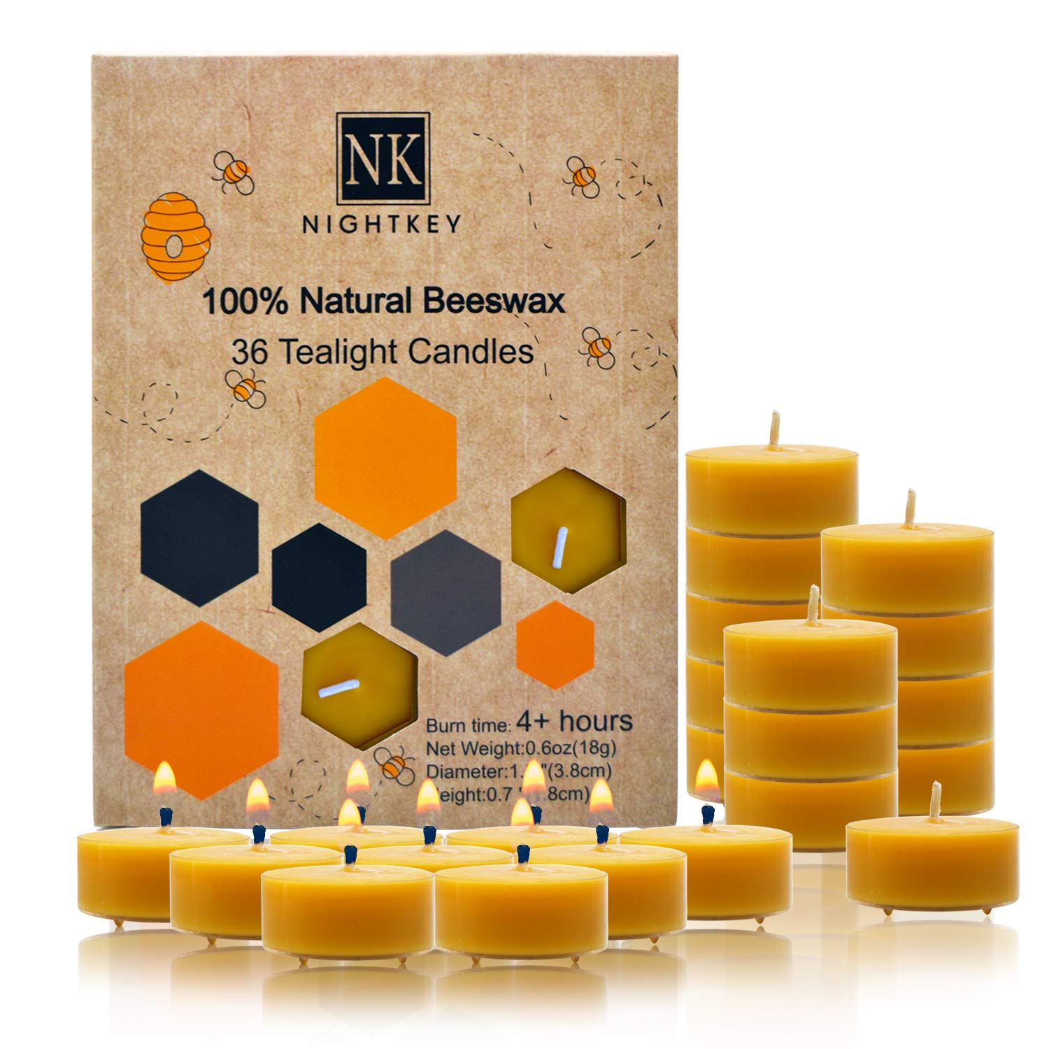 NIGHTKEY Natural Handmade Beeswax Tea Light Candles Smokeless Natural Smell 4 Hours Burning Time (36 case) by NIGHTKEY