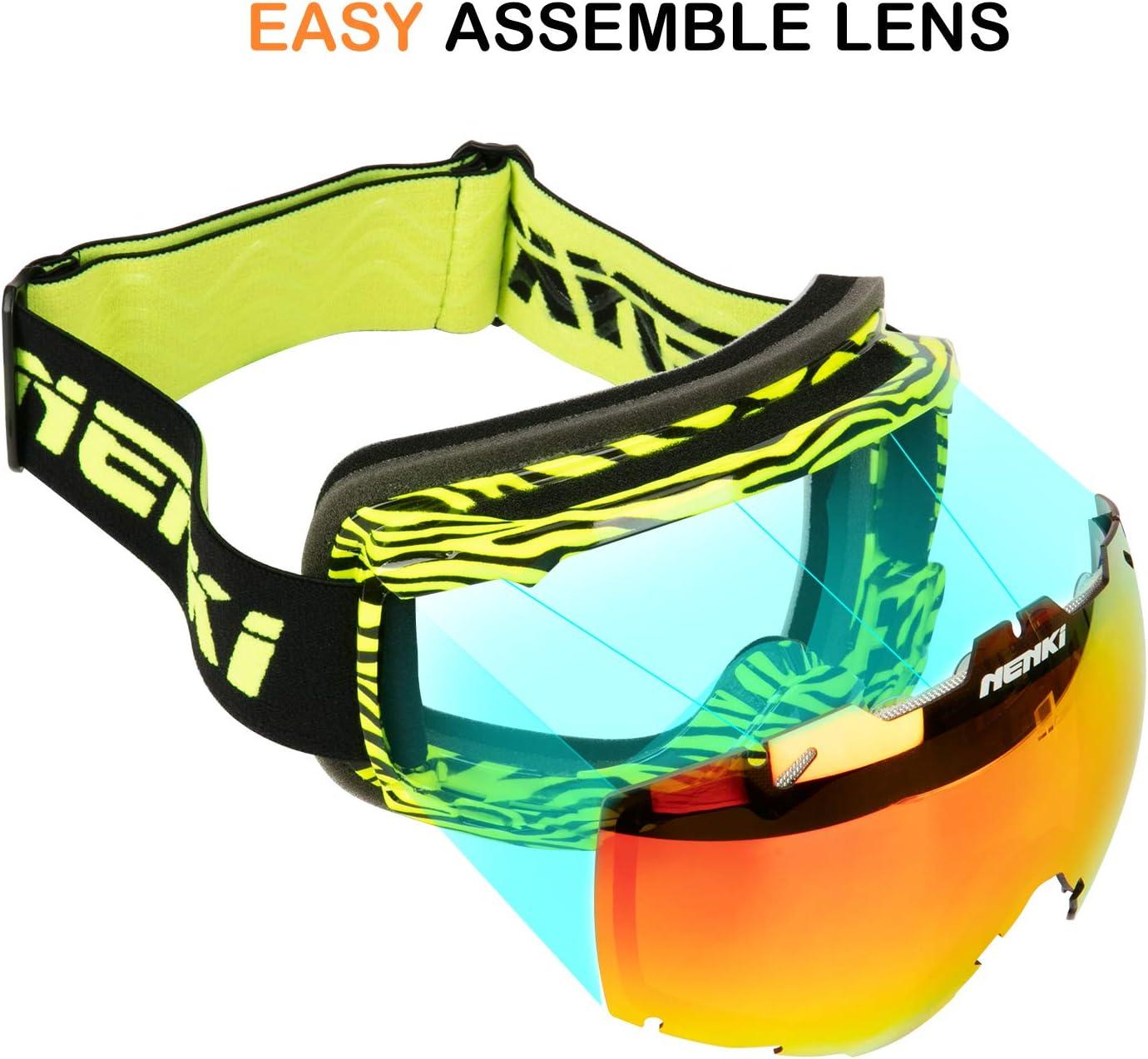 Gafas de esqu/í para Hombre y Mujer NENKI NK-1006 /& NK-1007 con Lentes antivaho y protecci/ón UV 100/%