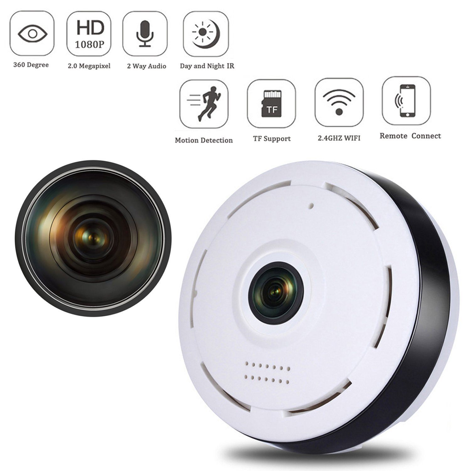Smart WiFi Home Security Camera,360 Degree Panoramic Camera with IR Night Vision/2-Way Audio/Motion Detection,Welcome Download APP to Check More Function by TK-STAR (Image #1)