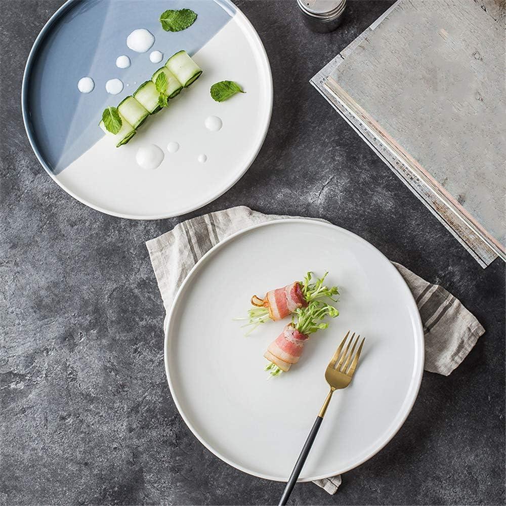 CZDXM Nordic Ceramic Creative Snack Plate Western Pizza Plato Vajilla Plato Blanco 20.5X2.6Cm: Amazon.es: Hogar