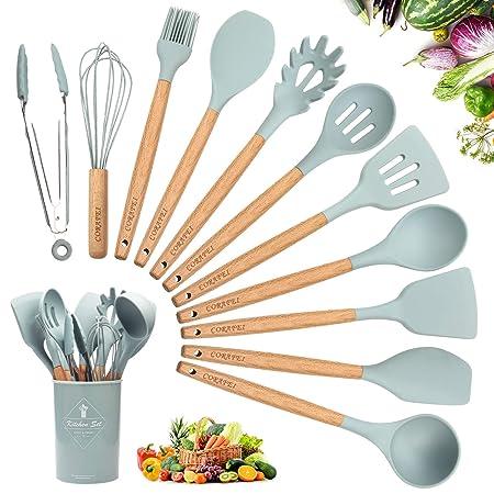 Corafei Küchenhelfer Set 12 Stücke Küchenutensilien aus Silikon und Holz, Wender Zange Schneebesen Backpinsel Löffel Spatel,