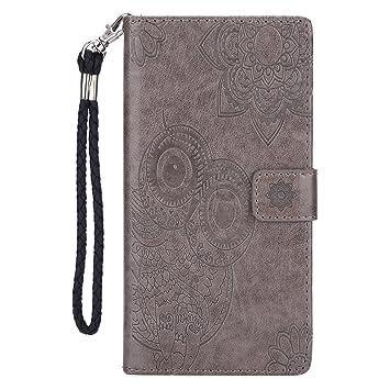 Compatible con Samsung Galaxy Note 8 Funda Cuero,Carcasa Galaxy Note 8 Billetera,Case Galaxy Note 8 Gris Moda Flores Búho Diseño Flip Wallet PU ...