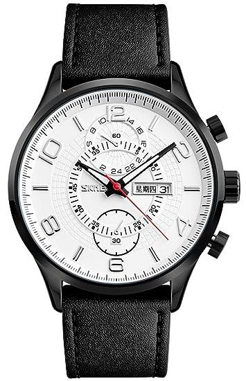 Moda hombres cuarzo relojes marca los hombres de lujo del reloj de piel resistente al agua relojes de pulsera calendario relojes: Amazon.es: Relojes