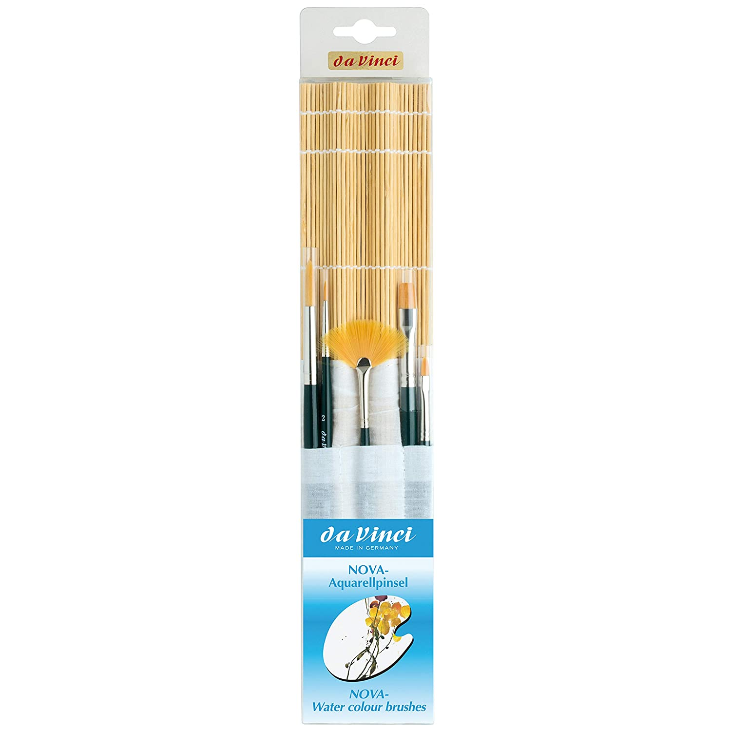 (Nova Short + Bamboo Mat) - da Vinci Watercolour Series 5307 Nova Paint Brush Set, Synthetic with Bamboo Brush Mat, Multiple Sizes, 5 Brushes 5307  B00O1PAPP0
