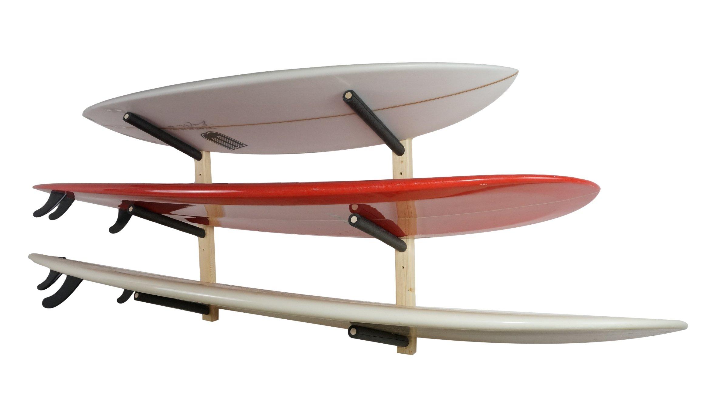 StoreYourBoard Surfboard Wall Rack, Wooden Surf Storage Rack for 3 Boards