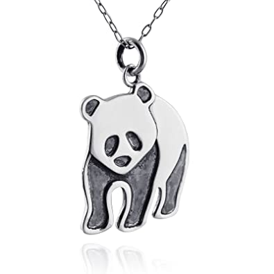 Amazon sterling silver 925 panda bear pendant charm necklace sterling silver 925 panda bear pendant charm necklace 18quot cable chain aloadofball Images