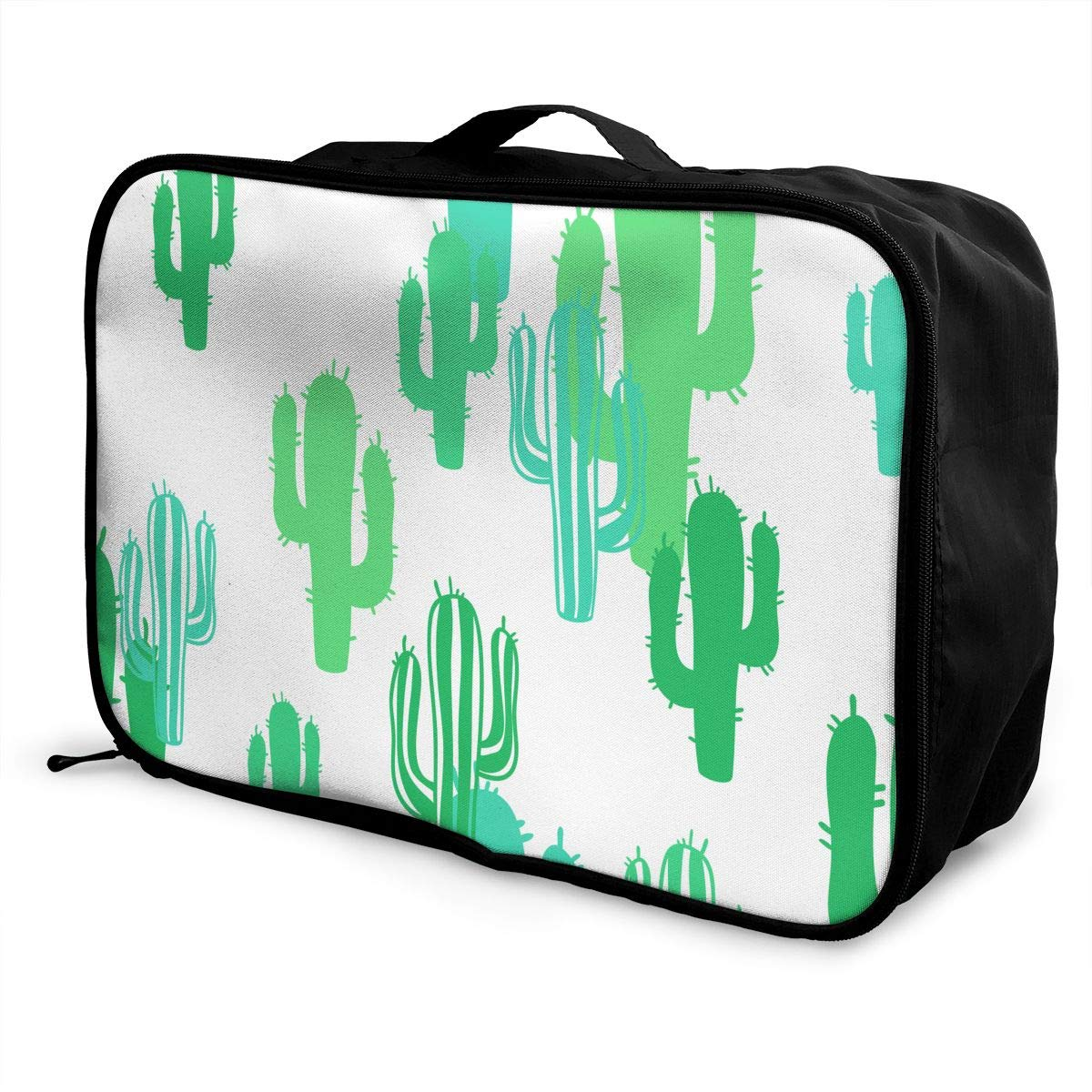 Travel Luggage Duffle Bag Lightweight Portable Handbag Green Cacti Pattern Large Capacity Waterproof Foldable Storage Tote