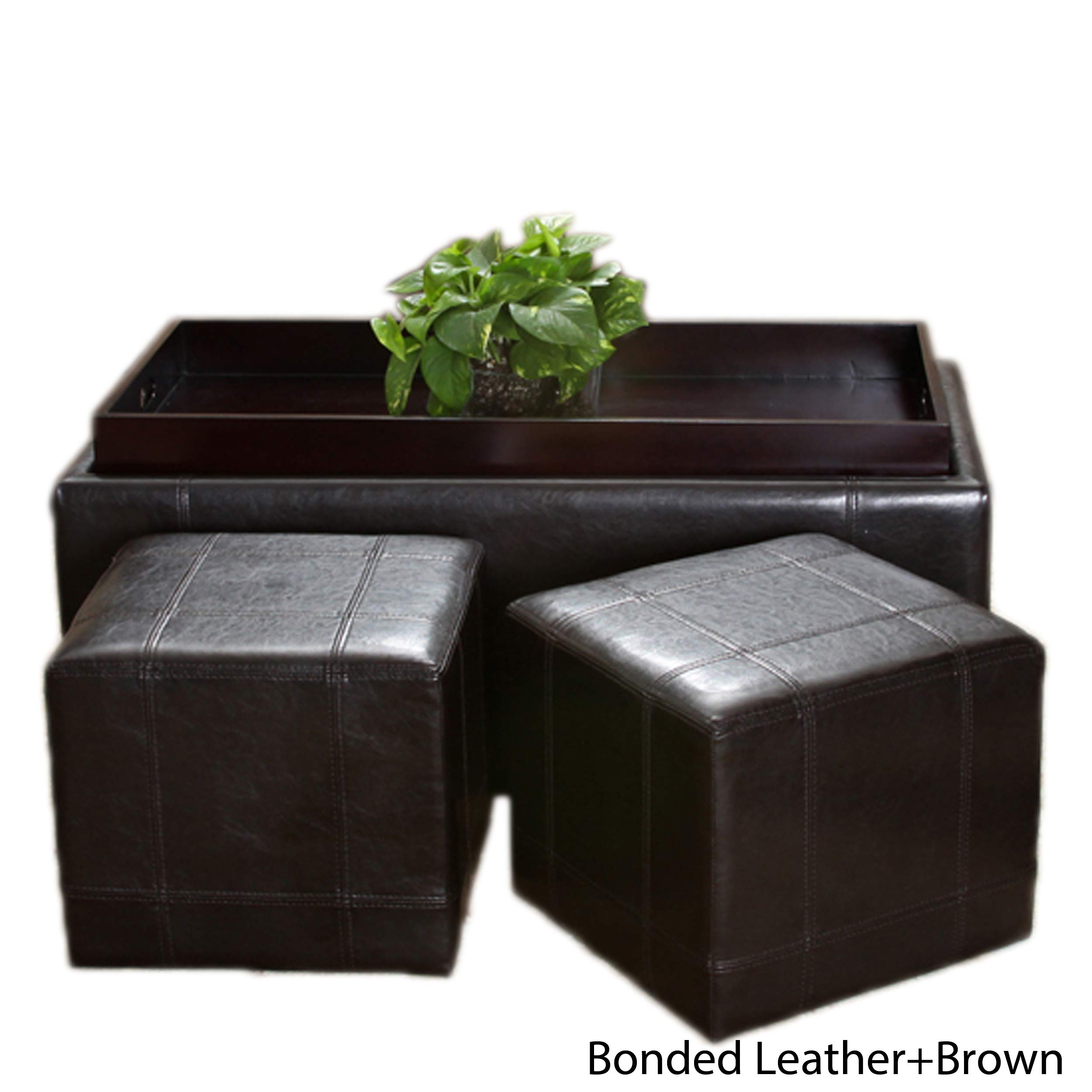 Christopher Knight Home 231388 Five Brooks 3-Piece Espresso Leather Storage Ottoman & Poufs Set, Brown by Christopher Knight Home
