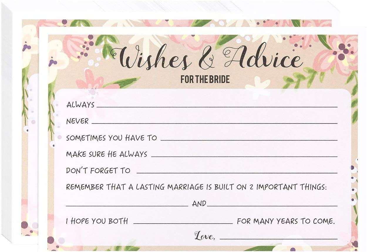 Marriage Advice and Well Wishes for Bridal Shower - 50 Sheet Floral Wedding Game Cards, Rustic Party Supplies for Bachelorette Party and Rehearsal Dinner, 50 Vintage Cards Included, 5 x 7 Inches, Pink