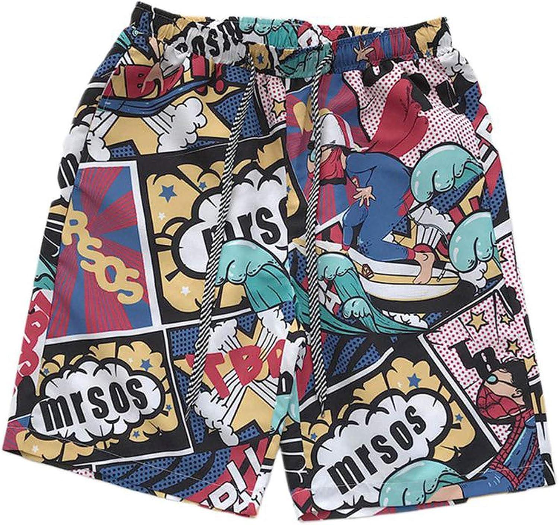 Mens Plus Size Quick Dry Swim Trunks Tropical Leaf Print Surfing Shorts
