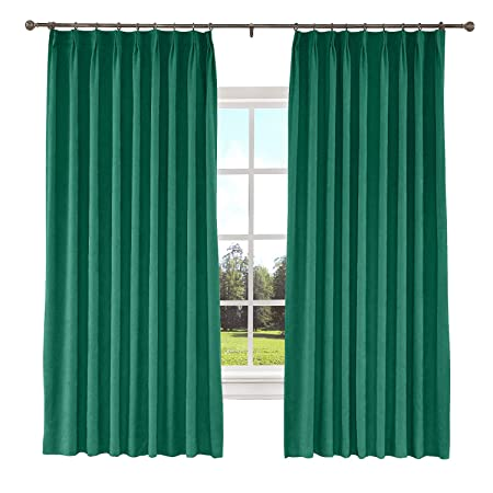 TWOPAGES 52 W x 84 L inch Pinch Pleat Blackout Curtain for Bedroom Polyester Cotton Blend Room Darkening Blackout Curtains with Liner, 1 Panel, Peacock
