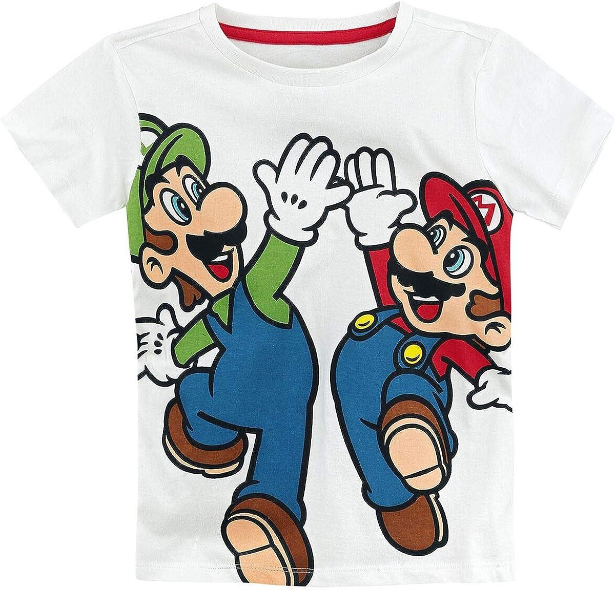 Super Mario Mario /& Luigi T-Shirt Bianco
