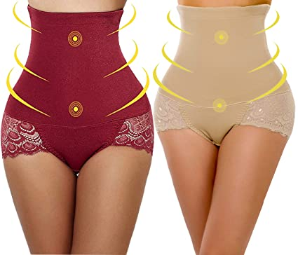 ba34c733288ed YaShaer 2 Pack Strapless Body Shaper High Waist Tummy Control Butt Lifter  Panty Slim