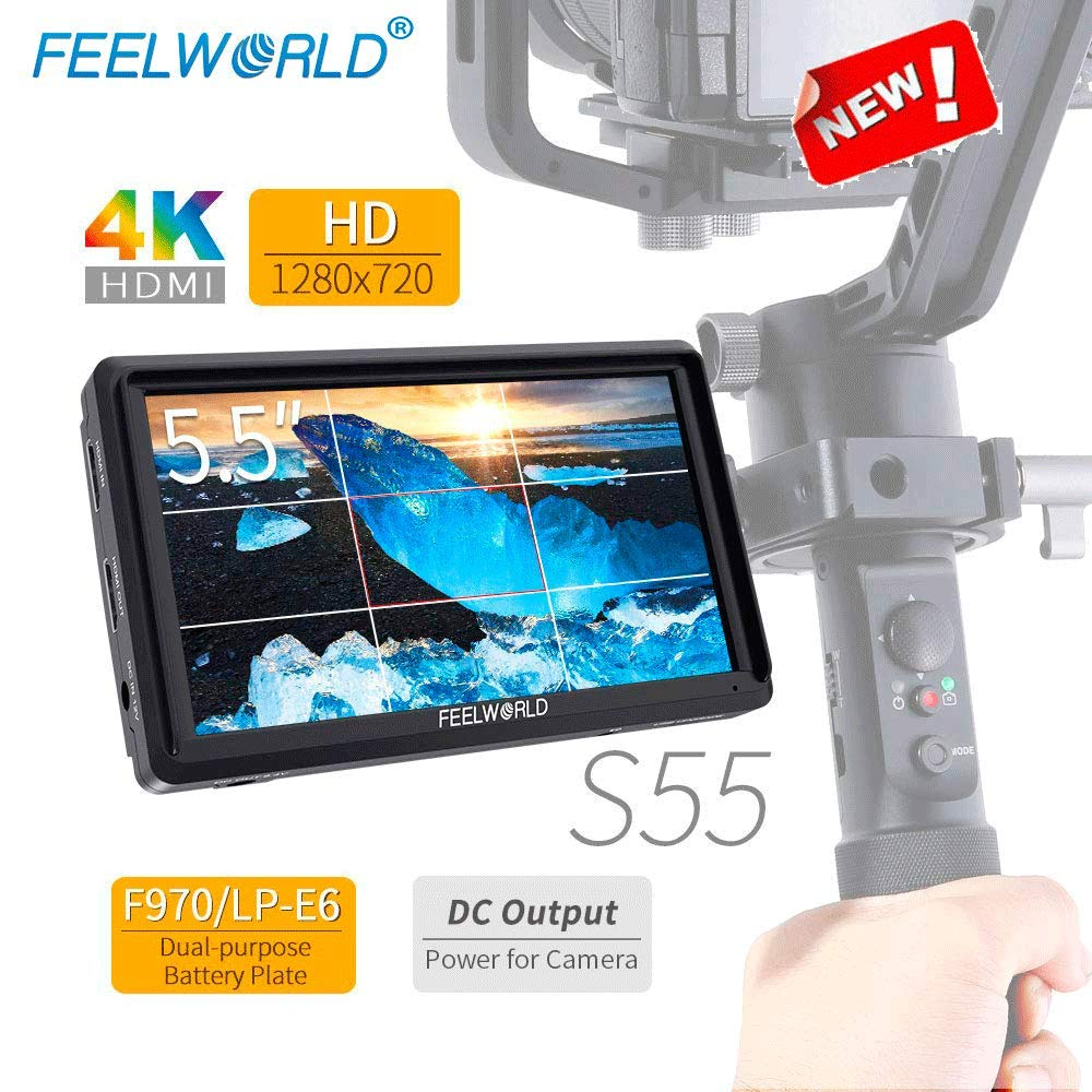 FEELWORLD S55 5.5 Inch 4K HDMI IPS On Camera Video Field Monitor, Small Full HD 1280x720 Vlogging Video Peaking Foucus Assist Monitor Swivel Arm with 8.4V DC Output