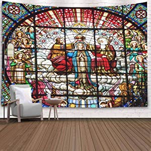 Sertiony Jesus Wall Decor,Tapestry Wall Art Home Decor 80X60 Inches Stained Glass Jesus Father Rose Window Spain October Spainoctober 18 Crowning Mary God Basilica Inside Dorm Tapestry