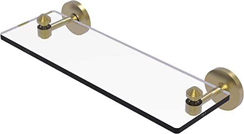 Allied Brass SB-1 16 South Beach Collection 16 Inch Vanity Beveled Edges Glass Shelf, Satin Brass