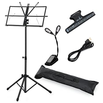 Moukey Sheet Music Stand MMS-1 Portable Folding Metal Music Stand With  Light Carrying Bag Black