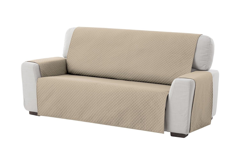 textil-home Funda Cubre Sofá Adele, 4 Plazas, Protector para Sofás Acolchado Reversible. Color Beige
