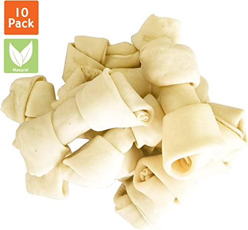Pet Magasin Natural Premium Long-Lasting Rawhide Bones Pack of 10 Heavy Chewing Dog Treats for Heavy Chewers Processed Without Additives Or Chemicals