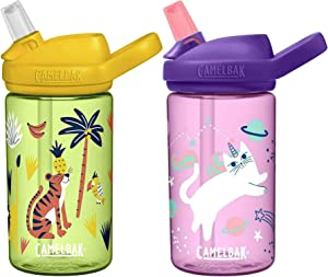 Camelback 2 Eddy+ Kids Straw Bottles - Jungle Animals & Kittens/Twin Pack Children Child Boy Girl Junior Infant Drink Water Juice Cup BPA Free Reusable Christmas Xmas Snow Winter Holiday Flask