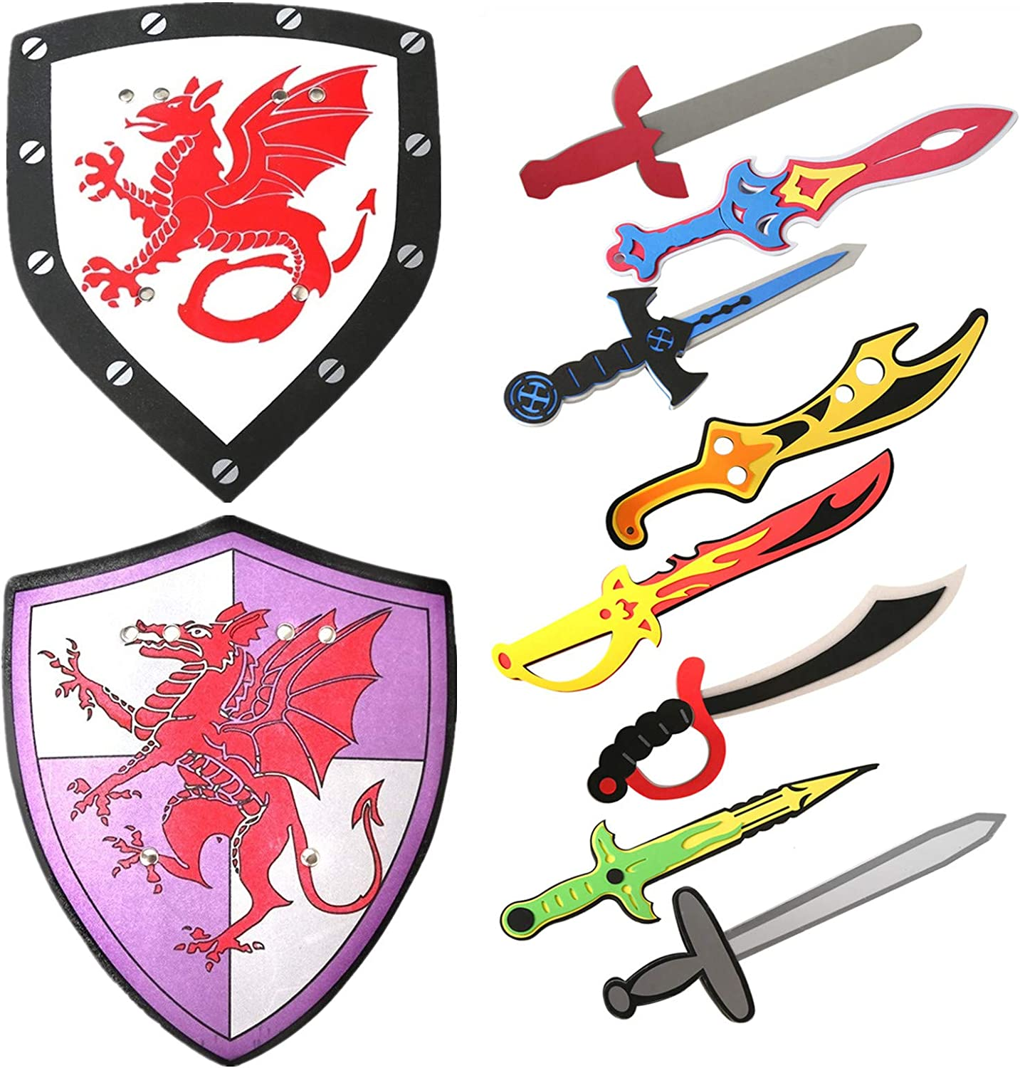 Foam Sword and Shield Playset Medieval Assorted Ninja Warrior Weapons Pretend Play Sword Toy Set for Kids